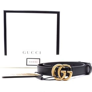 "Gg Logo Buckle 0.75"" Wide Leather Size 65 26 Belt"